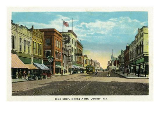 Oshkosh, Wisconsin - Main Street North Scene-Lantern Press-Art Print