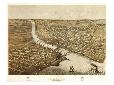 Oshkosh, Wisconsin - Panoramic Map-Lantern Press-Art Print