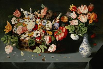 Still-life with flowers and butterflies