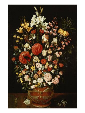 Tulips, Lillies, Irises, Roses, Carnations, Peonies, and Other Flowers in a Sculpted Terracotta Urn