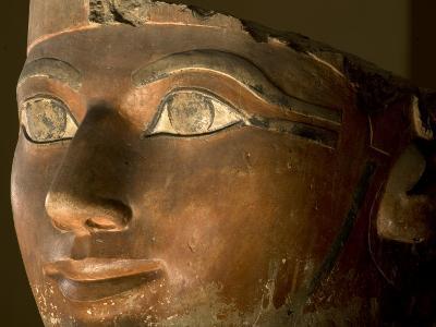 Osiris statue face of Hatshepsut in painted limestone-Kenneth Garrett-Photographic Print