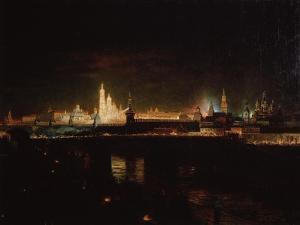 Illumination of the Moscow Kremlin, 1883 by Oskar Adolfovich Hofman