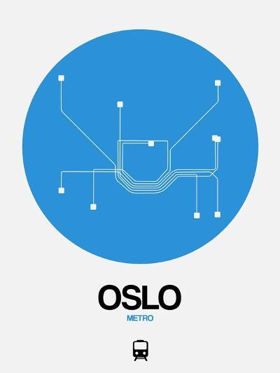 Oslo Blue Subway Map-NaxArt-Art Print