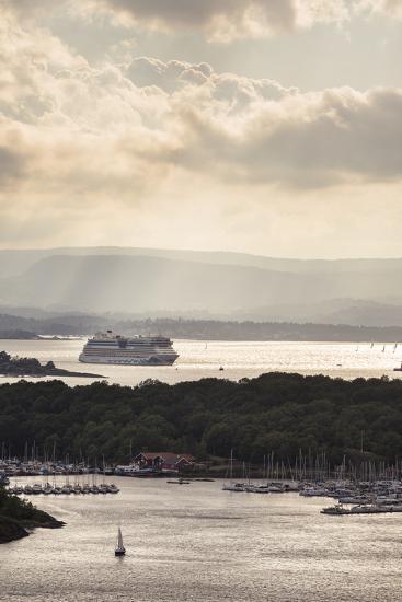 "Oslo, Østlandet, NOR: Cruise Ship Aidaluna, Oslo Harbor, ""Ekebergrestauranten"" Hillside Restaurant-Axel Brunst-Photographic Print"