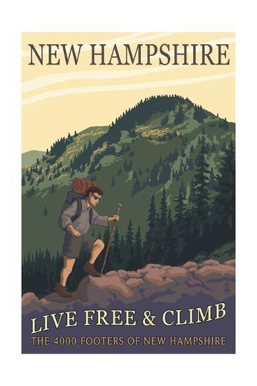 Ossipee Lake, New Hampshire - Live Free and Climb-Lantern Press-Art Print