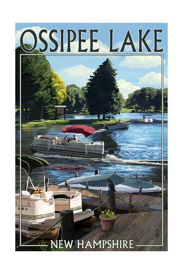 Ossipee Lake, New Hampshire - Pontoon Boats-Lantern Press-Art Print
