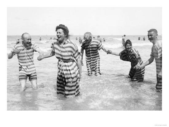 Ostend Seaside, Five Striped Bathers, c.1900-Andrew Pitcairn-knowles-Giclee Print