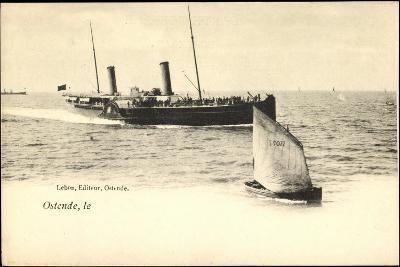 Ostende, Fährschiff Läuft An, Segelboot 077--Giclee Print