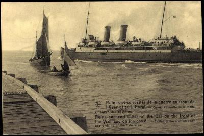 Ostende, Sailing of the Mail Steamer, Fishermen--Giclee Print