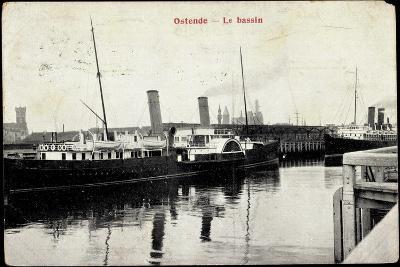 Ostende Westflandern, Le Bassin, Dampfer, Hafen--Giclee Print