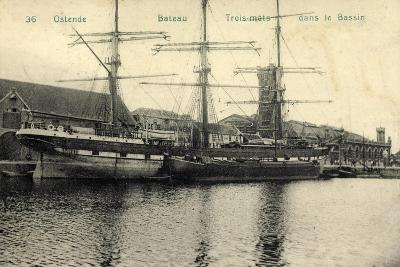 Ostende Westflandern, Segelschiff, 3 Master, Bassin--Giclee Print