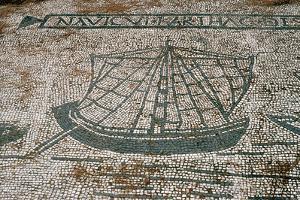 Ostia Antica. Mosaic Depicting a Cargo Ship from Carthage