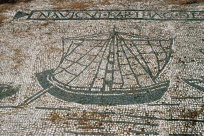 Ostia Antica. Mosaic Depicting a Cargo Ship from Carthage--Photographic Print