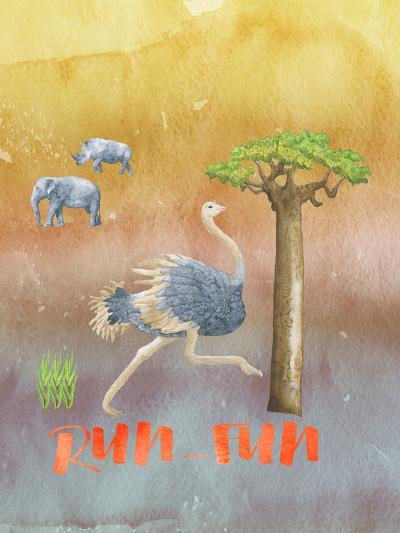 Ostrich Animal Wild Bird-Grab My Art-Art Print