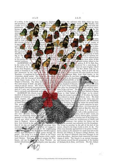 Ostrich Flying with Butterflies-Fab Funky-Art Print