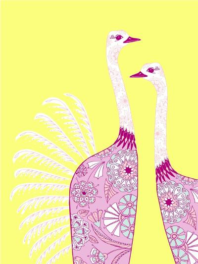 Ostrich Girls--Giclee Print