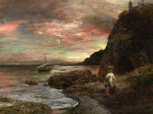 Evening Sun at Posillipo by Oswald Achenbach