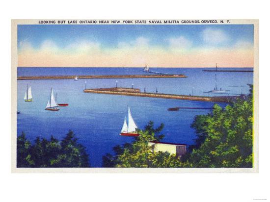 Oswego, New York - Lake Ontario View near NY State Naval Militia Grounds-Lantern Press-Art Print