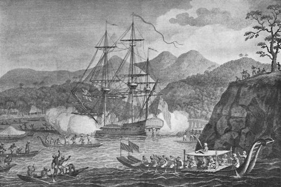 'Otaheite Surrendered to Captain Wallis', 1773, (1904)-Unknown-Giclee Print