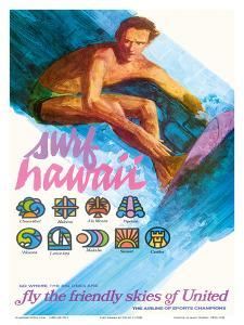 Surf Hawaii, Go Where the Big Ones Are, Haleiwa, Ala Moana, Waimea by Otero