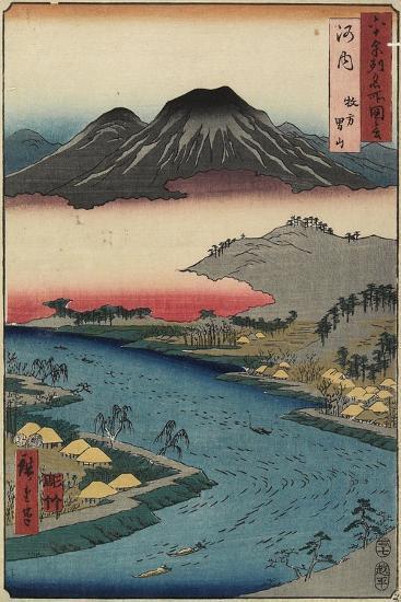 Otoko-Yama Mountain Seen from Hirakata, Kawachi Province, July 1853-Utagawa Hiroshige-Giclee Print