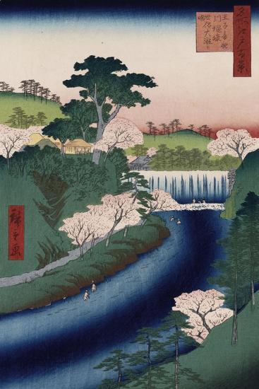 Otonashi River Dam-Utagawa Hiroshige-Giclee Print