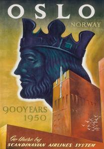 Oslo, Norway - 900 Years, 1950 - Harald III, King of Norway - SAS Scandinavian Airlines by Ottar M^ Michaelsen