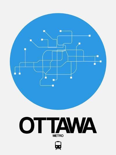 Ottawa Blue Subway Map-NaxArt-Art Print