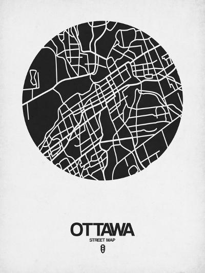 Ottawa Street Map Black on White-NaxArt-Art Print