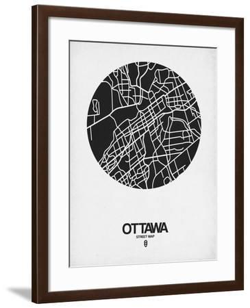 Ottawa Street Map Black on White-NaxArt-Framed Art Print
