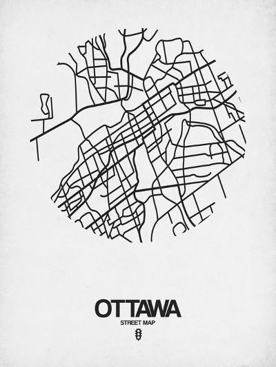 Ottawa Street Map White-NaxArt-Art Print