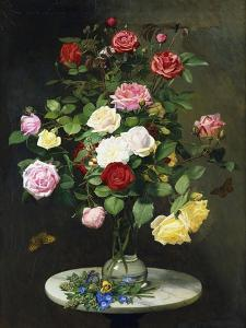 A Bouquet of Roses in a Glass Vase by Wild Flowers on a Marble Table, 1882 by Otto Didrik Ottesen