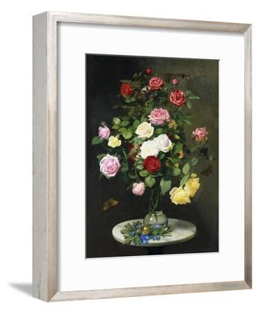 A Bouquet of Roses in a Glass Vase by Wild Flowers on a Marble Table, 1882