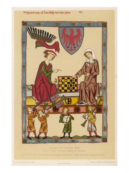 Otto IV, Margrave of Brandenburg, Depicted Playing Chess with His Wife Hedwig Von Holstein--Giclee Print