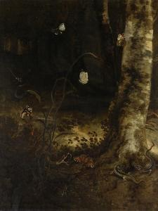 Forest Floor with a Snake, Lizards, Butterflies and Other Insects by Otto Marseus Van Schrieck