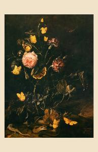 Still Life with Flowers, Insects and Reptiles by Otto Marseus Van Schrieck
