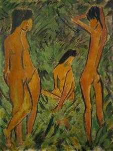 Boy in front of two girls, one standing, one seated, 1918 / 19 Leimfarbe auf Rupfen,120,2 x 88,2 cm by Otto Mueller