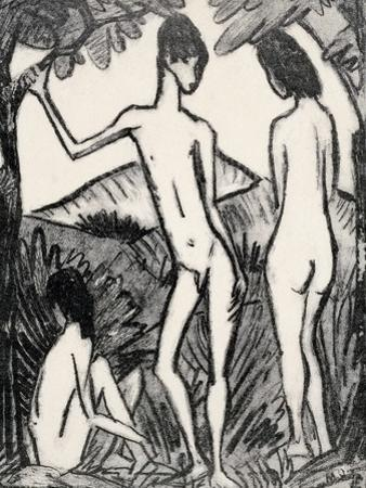 Boy Standing Between Two Girls, 1917 by Otto Mueller