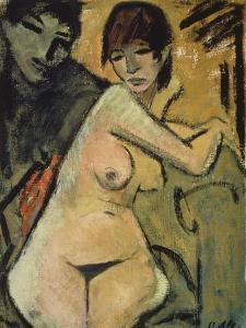 Liebespaar. Couple. Um 1920 by Otto Mueller