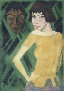 Maschka mit Maske. 1919 - 21 by Otto Mueller