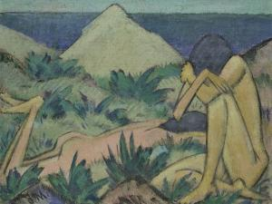 Nudes in Dunes, circa 1919-20 by Otto Mueller