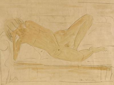 Reclining Female Nude by Otto Mueller