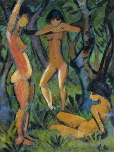 Three Nude Figures in Wood, 1911 by Otto Mueller