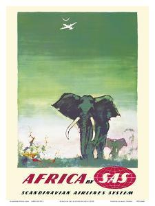 Africa - Elephants - by SAS Scandinavian Airlines System by Otto Nielsen