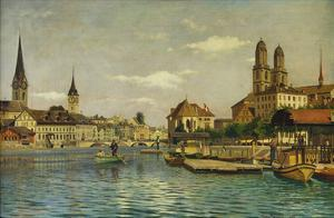 A View of Zurich with the River Limmat from the Quaibrucke Looking Towards the Fraumunstkirche,… by Otto Pilny