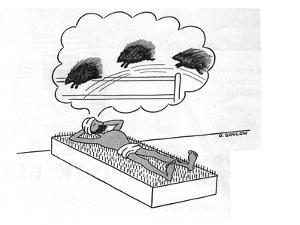 Turbaned man lays on a bed of nails counting porcupines. - New Yorker Cartoon by Otto Soglow