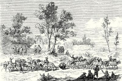 Otto Von Guericke Conducts the Experiment of the Magdeburg Hemispheres with 24 Horses--Giclee Print