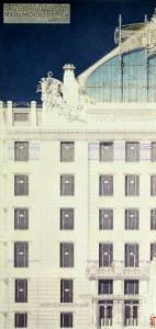 Post Office Savings Bank, Vienna, Design Showing Detail of the Facade, c. 1904-06 (Coloured Pencil) by Otto Wagner