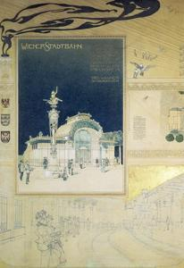 Stadtbahn Pavilion, Vienna Underground Railway, Exterior and a View of the Railway Platform by Otto Wagner