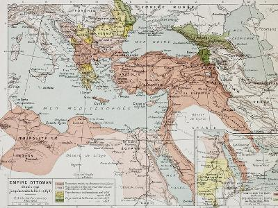 Ottoman Empire Historical Development Old Map (Between 1792 And 1878)-marzolino-Art Print